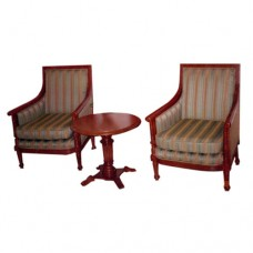 Pair Of Cushioned Corner Chairs With Coffee Table