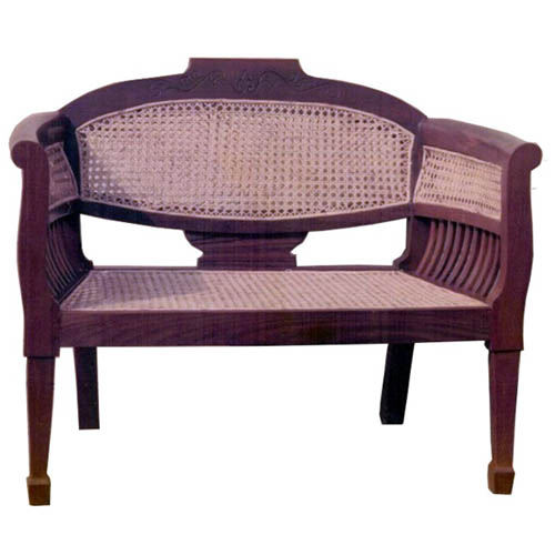 Cane Sofa In Pune: Single Seater Sofa With Slats And Cane Decoration
