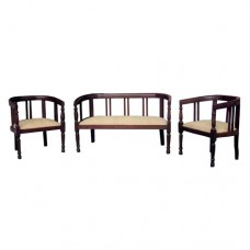 Four-Seater Sofa With Slats Decoration And Cushoined Seat
