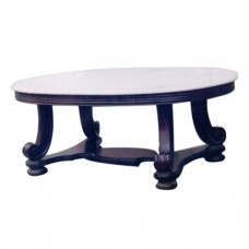 Round End Table With Carved Leg Support