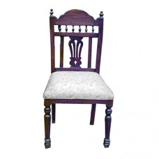 Shell Back Chair With Pillars And Turned Legs