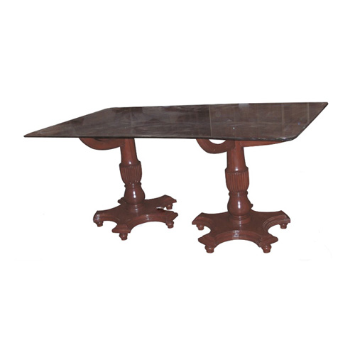 Classical Twin Stem Base Rectangular Top 6seater Dining Table With Loose Base