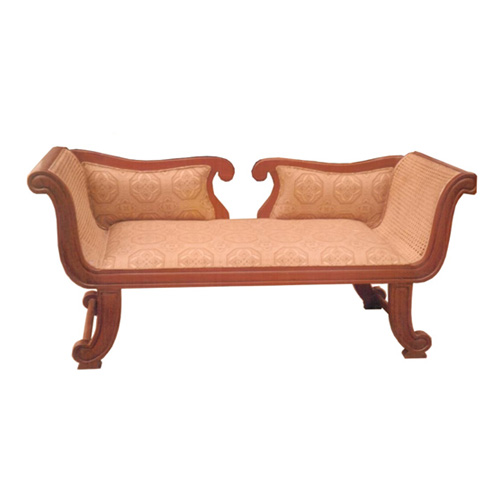 Caned Arm Rest Two - Seater Sofa / Deewan